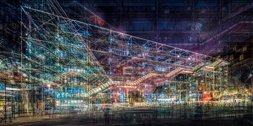PARIS BEAUBOURG PIAZZETTA BY NIGHT
