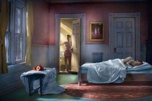 Pink Bedroom Still Life at Night