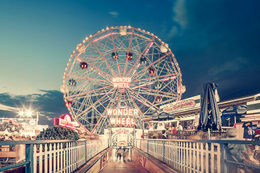 Photo Wonder Wheel By Night Coney Island NY -