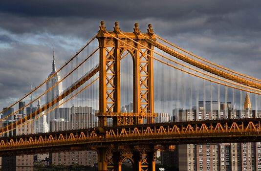 Photo New York Orange Manhattan Bridge - Christophe Morin