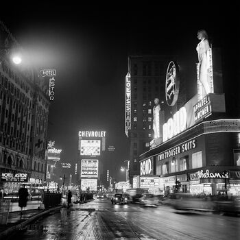 Photo BROADWAY, LA NUIT, APRÈS LA PLUIE, NEW YORK, 1952 - Jack Nisberg