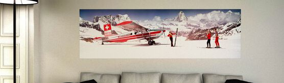 Photo ALPS SKIERS WITH AIRPLANE 1964 - Colorama