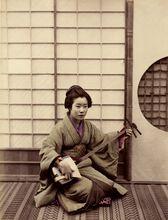 Femme jouant du samisen