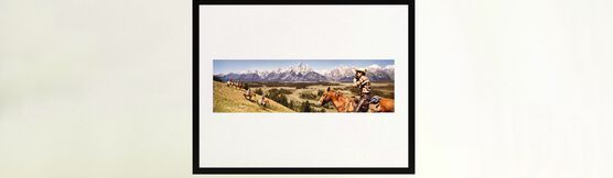 Photo COWBOYS IN GRAND TETONS WYOMING 1964 - Colorama