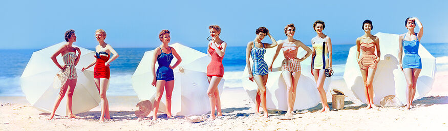 FASHIONS IN CHROMSPUN SWIMSUITS 1954