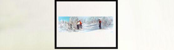 Photo SKIERS TAKING SNAPSHOTS VERMONT 1951 - Colorama