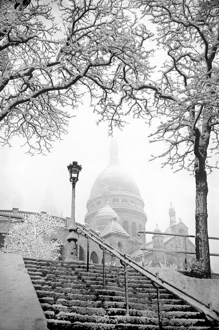 Photo BASILIQUE DU SACRE-COEUR SOUS LA NEIGE A PARIS 1935 -  Gamma Agency
