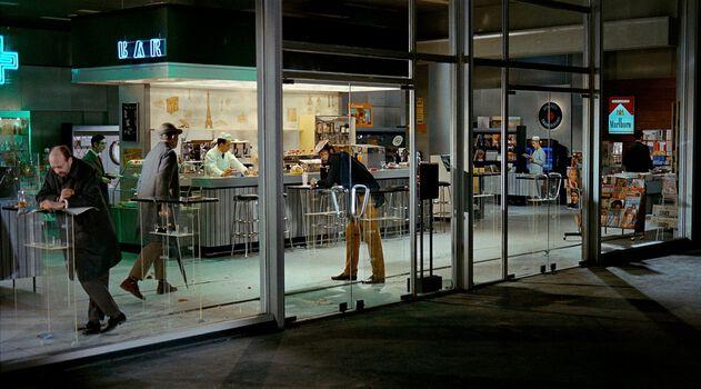 Photo M. Hulot et les clients du drugstore - Jacques Tati