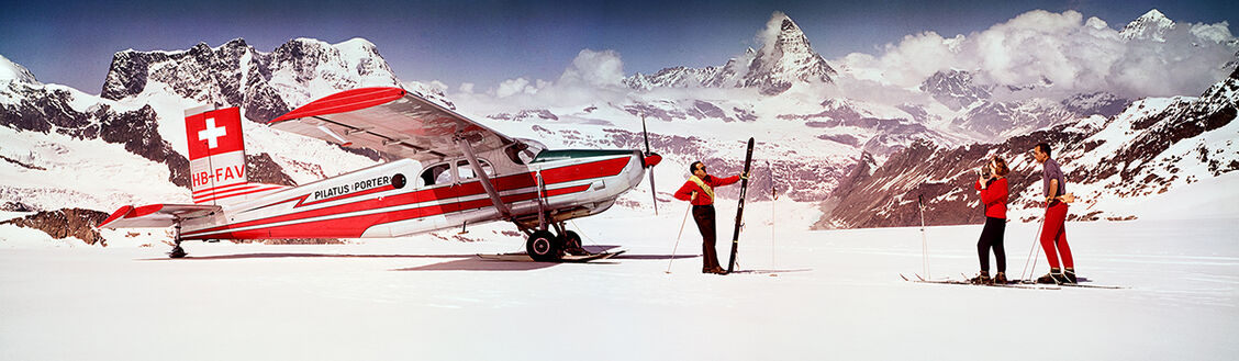ALPS SKIERS WITH AIRPLANE 1964