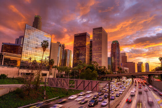 Photo DOWNTOWN LOS ANGELES BURNING SUNSET - Serge Ramelli